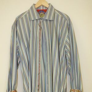 ROBERT GRAHAM  Striped Long Sleeve 2XL